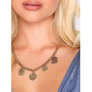 Freedom by Topshop Coin Drop Necklace Halsband Gold