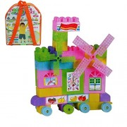 Urbanese 58 Pieces Block Set - Train, House, Bed, Counting Blocks etc. (Happy Block)
