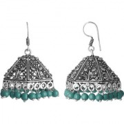Spargz Silver Oxidized Blue Beads Pyramid Style Outfits Jhumka Earring For Women AIER_1080
