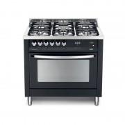 Lofra Pnmg96gvt/c Nero Matt 90x60 Cucina Colorata Con Piano In Acciaio Lucidato A Specchio - 5 Fuochi A Gas Di Cui 1 Tripla Co