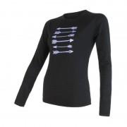 Sensor 100% merino wol t-shirt lange mouw zwart dames