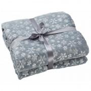Merkloos Warm fleece dekentje grijs met sneeuwvlokken print 130 x 150 cm