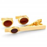 Northern Jewelry Vergoldetes 925er Silber Manschettenknöpfe Und Krawattenklammer Set Mit Rotem Stein