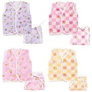 (SUMMER SPECIAL OFFER)First Step New Born Baby gift pack Jhabla with Diaper (Multicolor Pack of 8)