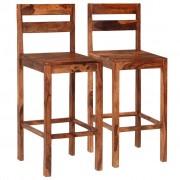 vidaXL Бар столове, 2 бр, кафяви, масивно шишамово дърво