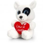Animalut de plus Sparkle Eyes cu inimoara Keel Toys, 20 cm, Alb, 3 ani+