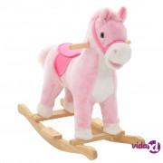 vidaXL Plišani konjić za ljuljanje 65 x 32 x 58 cm ružičasti