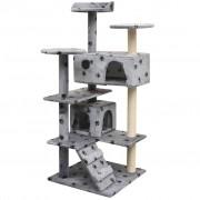 vidaXL szürke macskabútor mancsnyomokkal és szizál kaparófákkal 125 cm
