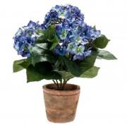 Bellatio flowers & plants Blauwe kunstplant Hortensia plant in pot