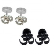 Men Style Best Quality Om Piercing Combo (2 Pairs) Silver and Black Stainless Steel Stud Earring Men and Women