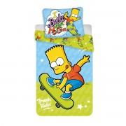 Lenjerie de pat copii Jerry Fabrics Bart Skate 03, din bumbac, 140 x 200 cm, 70 x 90 cm