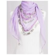 Duizend en één nacht muntjes sjaal lila/zilver