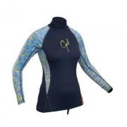 Uv tröja dam långärmad mörkblå rashguard - Gul (Storlek: 38)