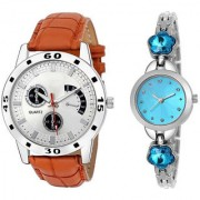 MACRON W-211 Couple Watch Combo Watch Brown Belt Silver Dial with Sky Blue dial watch 211