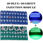 Eshopglee 3 LED DC 12V Waterproof Injection Led Modules Light 5630/5730 SMD - 20+20 Module (Blue+Green) + Free 12v Dc Adaptor