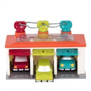 Battat 3 Car Garage Shape Sorting Toy Garage with Keys and 3 Toy Cars for Toddlers 2 years + (5-Pcs)