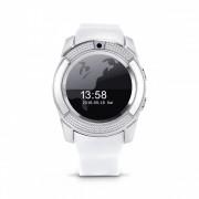 Bass V8 Smart Watch White - Funcție sport, slot pentru Sim, Cameră foto, Android și telefoane iOS.