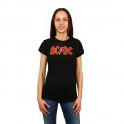 AC/DC fekete piros nyomtatással női póló