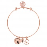 CO88 Armband 'Levensboom-Hart' staal/rosékleurig, all-size 8CB-11002