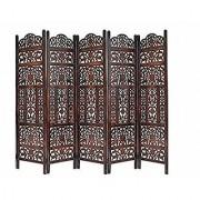 Shilpi Handicrafts Wooden Partition Leaf Design Decor Room Divider Screen Panel (5)