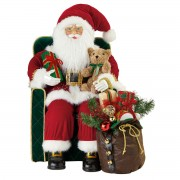 31 Inch Traditional Sitting Fabric Santa in Chair Father Christmas Decoration