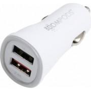 Incarcator Auto Boompods 3.4A Dual USB led indicator incarcare rapida Alb