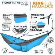 Ticket to the Moon King Size Hängematte Aqua/Dark Grey