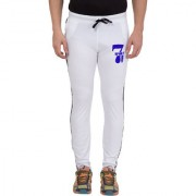 Cliths Men's White Full Length Cotton Printed Track Pant