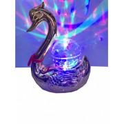 Veioza lebada cu glob iluminat multicolor rotativ Argintiu