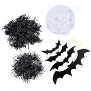 TOYMYTOY Halloween White Spider Web Cobweb Decoration Set for Haunted House Halloween Toys Supplies