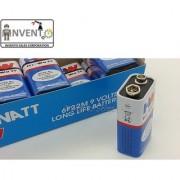 Invento 2pcs 9V DC HI-Watt Original 6F22M Non Rechargeable Battery Long Life for Home DIY