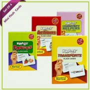 Combo Mini Set of 4 Krazy Flash Cards ( Fruits+Action+Community Helpers+Transports)