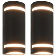 vidaXL 2 db fekete félkör alakú kültéri lámpa 35 W