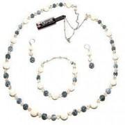Set bijuterii GANELLI pietre semipretioase Howlite Agate Crackle - colier lung bratara cercei