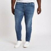 River Island Mens Big and Tall mid Blue Eddy faded skinny jeans - Size