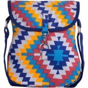 Vivinkaa Blue Multi Canvas Sling Bag for Women