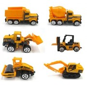 Dazzling Toys Construction Trucks Set. Includes 1 Cement Truck, 1 Bulk Truck, 1 Dump Truck And 1 Excavator.