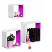 Onlineshoppee MDF Artesania Cube Floating Wall Shelves Set of 3 Violet