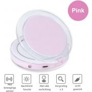 Make-Up Spiegel Met LED Verlichting 3X Vergroting - Draagbaar - Hoge Kwaliteit - Cosmetica Spiegel - Roze - Fizzy