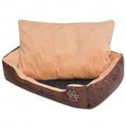 vidaXL Кучешко легло с възглавница, PU изкуствена кожа, S, кафяво