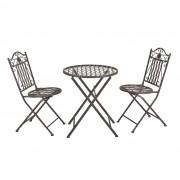 [casa.pro]® Bisztró szett - körasztal 2 székkel - fém kerti bútor - zöld