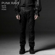 Punk Rave Gothic Baroque Emroidered Pants Black K-193