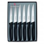 Victorinox Coffret de 6 couteaux à steak manche noir lame dentée pointue - SwissClassic - Victorinox