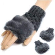 Modo Vivendi Winter Warm Gloves (Wrist Length) Fingerless Knitted Gloves with Rabbit Fur Dark Grey