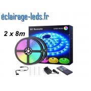 Bandeau LED RGB 16m (2x8m) IP20 éclairage piloté par signal radio. ref bl-19