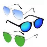 GreatDio Oval, Cat-eye, Wayfarer Sunglasses(Blue, Green)