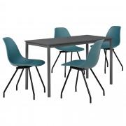 PremiumXL - [en.casa] Dizajn blagovaonski set - stol (tamno sivi, 120x60cm) - sa 4 stolice(tirkizne)