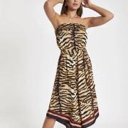 River Island Womens Beige zebra print bandeau culotte jumpsuit (8)