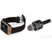 Zemini DZ09 Smart Watch and WS 858 Microphone Karrokke Bluetooth Speaker for SAMSUNG GALAXY S 5 SPORT(DZ09 Smart Watch With 4G Sim Card Memory Card| WS 858 Microphone Karrokke Bluetooth Speaker)