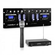 Resident DJ dj DJ405USB-BK Table mixage 4 canaux Set micro sans fil VHF 1 canal